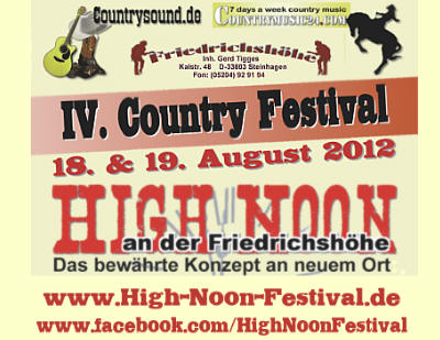 3. High Noon Country Festival am Kulturbahnhof B3 in Borgholzhausen / NRW with / mit David & Heart - Jolina Carl - Steve Haggerty & The Wanted - Johnny Cash Experience - Nashfield - Hillbilly Deluxe - Hermann Lammers Meyer Band